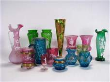 231: Group of Enameled Decorated Victorian Glass