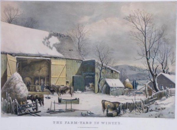 "318: Currier-Ives Litho, 1861 ""The Farm Yard in Winter"""