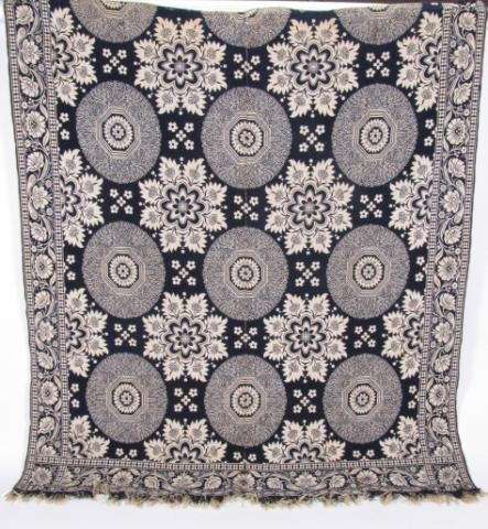 353: Antique Blue and White Jacquard Coverlet