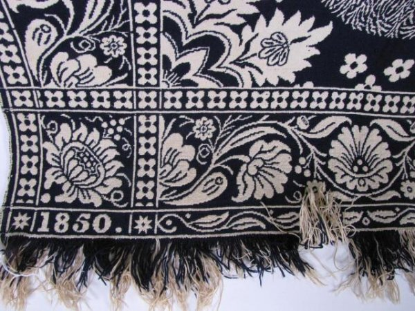 353: Antique Blue and White Jacquard Coverlet - 2