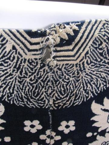 353: Antique Blue and White Jacquard Coverlet - 3