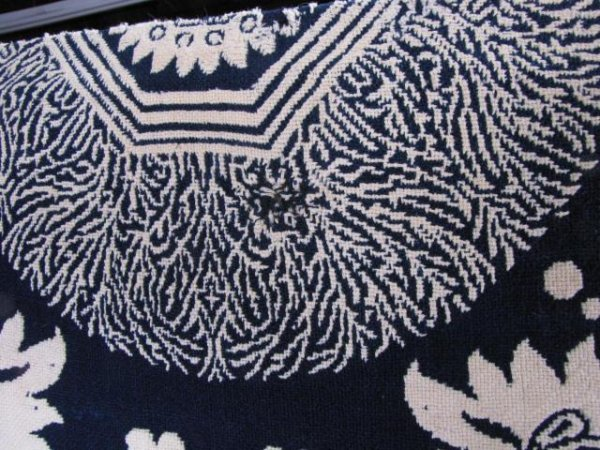 353: Antique Blue and White Jacquard Coverlet - 5