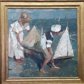 "Charles Warren Mundy 36x36 O/B ""Afternoon Sail"""
