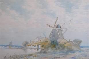 William Clusmann 11.5x17.5 WC Dutch Windmill Farm