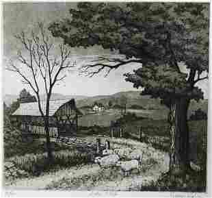 """George Engle Etching, """"Little Flock"""""""