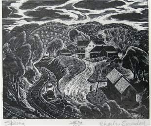 """Charles Surendorf Woodblock Print, """"Spring"""""""