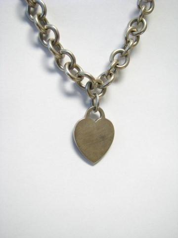 504: Tiffany & Co. Sterling Heart Pendant/Chain