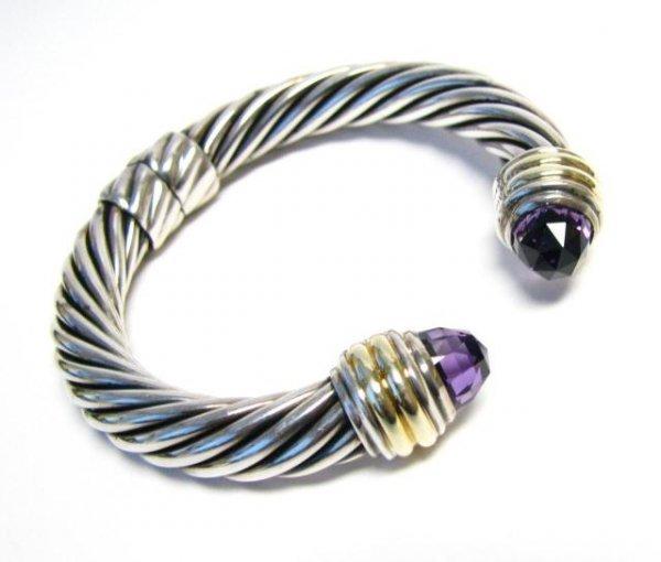 510: David Yurman Amethyst Hinged Cable Bracelet, 10mm