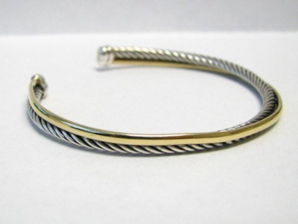 514: David Yurman Sterling, 18K Cuff Bracelet
