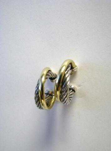 515: David Yurman, Pair of Sterling & 18K Hoop Earrings