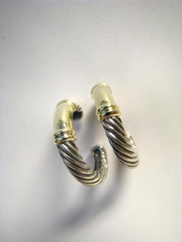 516: David Yurman, Pair of 14K & Sterling Hoop Earrings