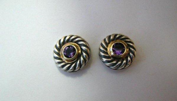 516A: David Yurman Sterling and 14K Amethyst Earrings