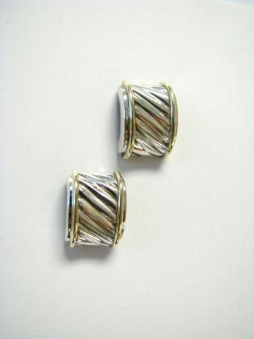 518: Pair of David Yurman Sterling and 14K Earrings