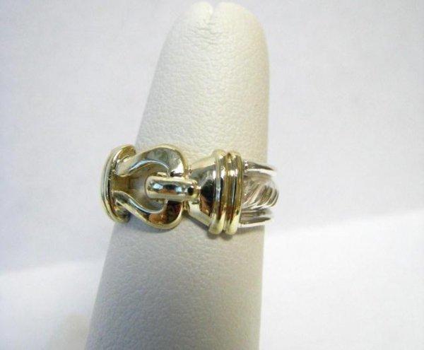 519: David Yurman Sterling & 14K Buckle Ring