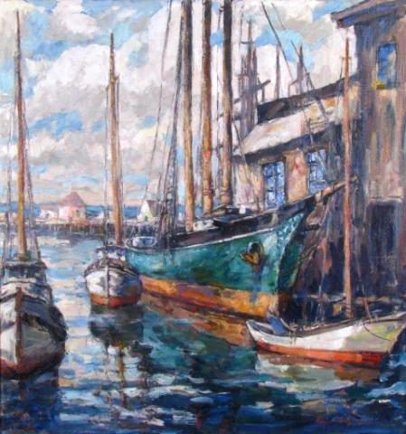 788: Edgar Forkner 36x34 O/C Boats at Harbor