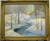 836: JW Hardrick 16 x 20 O/B Winter Creek, Snow Scene