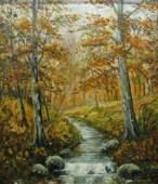 837: Attr JW Hardrick 15 x 13 O/B Autumn Woods