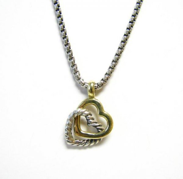 505: David Yurman, Sterling and 18K Heart Necklace