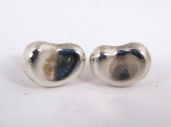 508: Tiffany Sterling Silver Bean Earrings