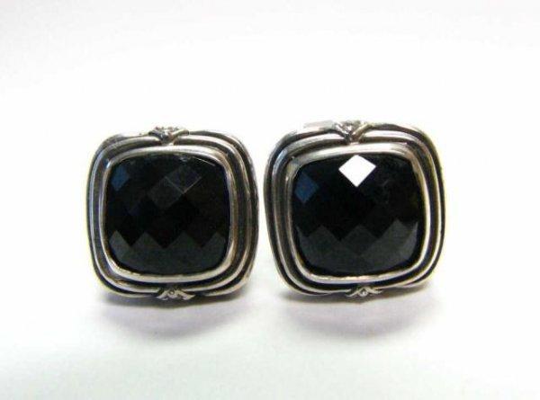 513: Pair of Scott Kaye Sterling Onyx & Diamond Earring