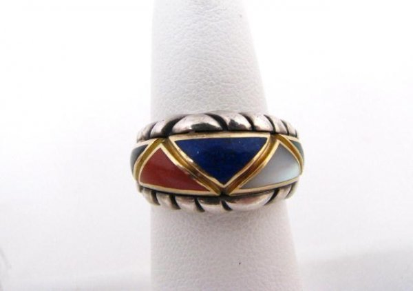 514: Sterling and 14K Asch/Grossbardt Inlaid Ring