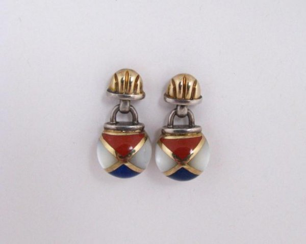 515: Sterling and 14K Asch/Grossbardt Inlaid Earrings
