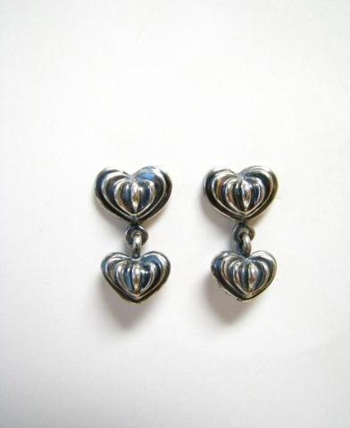 517: Pair of Lagos Sterling Fluted Heart Earrings