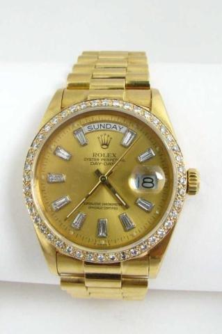 518: Gents 18K Gold Rolex President, 2ct Diamond Bezel