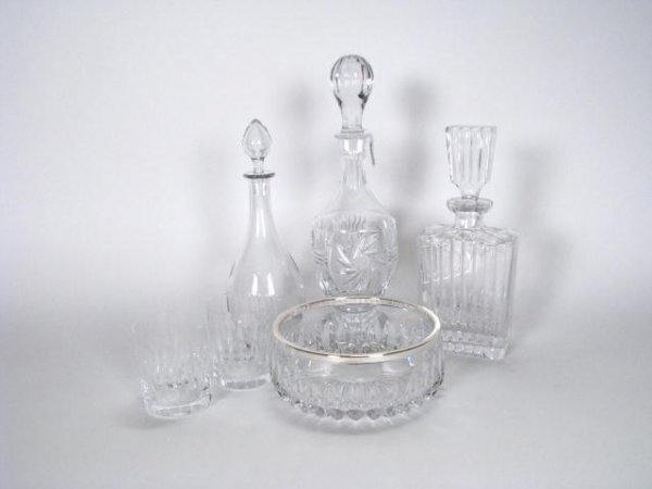 208: Group of Lead Crystal and Bar Glassware
