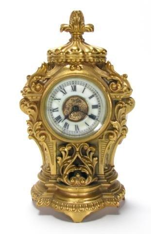 219: Ansonia Cast Metal Carriage Clock