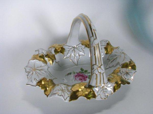 220: German Porcelain Handled Basket