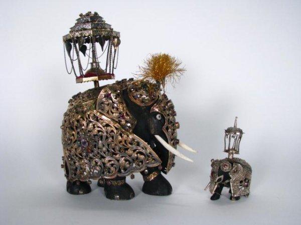 221: Two Jeweled, Asian Elephant Figures