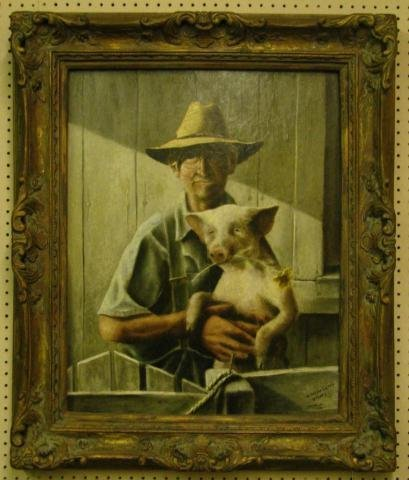 521: Thad Miller  (IN), 30x24 O/B Dad with Pig