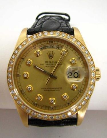 7A: Gent's 18K Rolex, Day/Date, Diamond Bezel