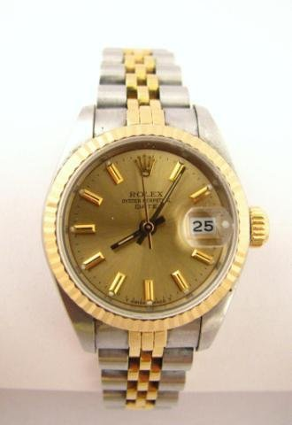 9: Lady's 18K & Stainless Rolex, Oyster Perpetual