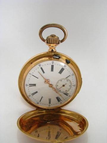 13A: 18K Gold Hunter Case Pocketwatch, Qtr Hr Repeater