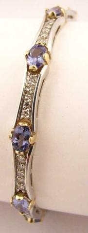 17: 14K Two-Tone Gold Diamond and Tanzanite Bracelet
