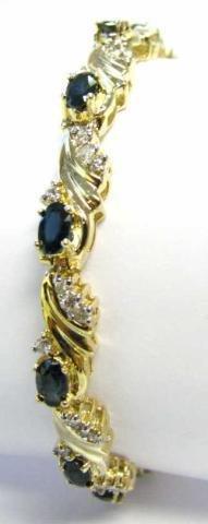20: 14K Yellow Gold Sapphire and Diamond Bracelet