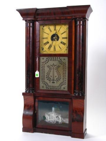 191: Antique Mantle Clock, Mahogany Case