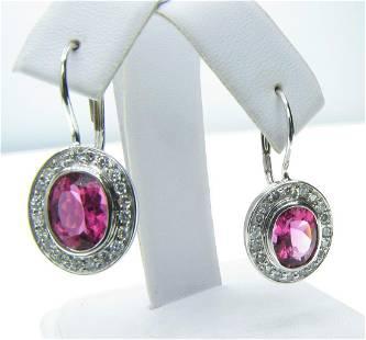 14K White Gold Pink Tourmaline Diamond Earrings
