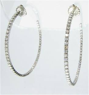 18K White Gold Kwiat Inside/Out Diamond Hoops, 6CT