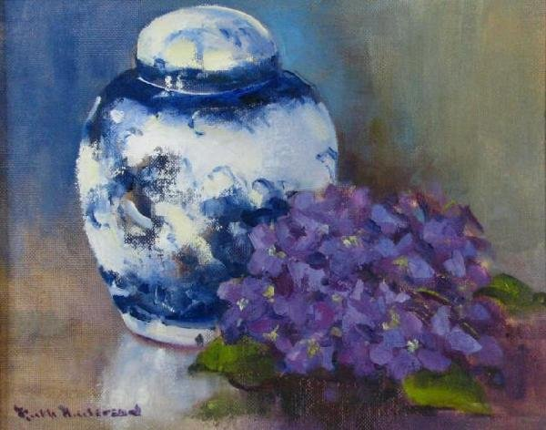 9: Ruth B. Anderson 8x10 O/C/B Ginger Jar and Violets