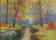 85 GH Baker 10x14 WC Autumn Landscape With Creek