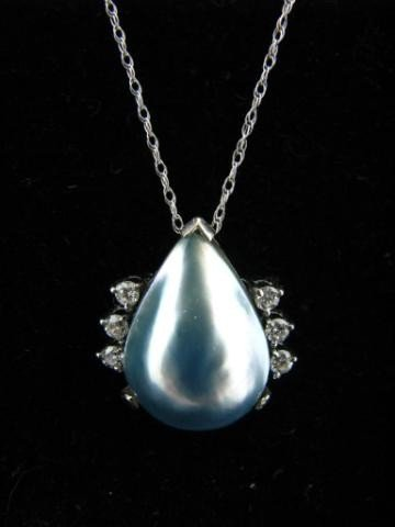 159: 14K White Gold Tear Drop Pearl and Diamond Pendant