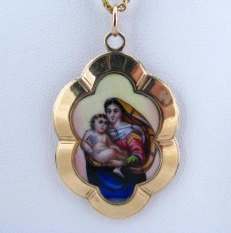 162B: 14K Yellow Gold Hand Painted Religious Pendant
