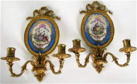 278 Pair of Louis XV Style Sevres Wall Sconces