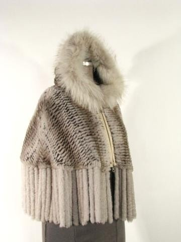 6: Taupe Knitted Rex Rabbit Poncho w/Fox trim & Fring