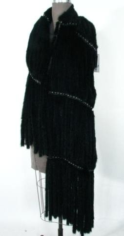 14: Ranch Mink Stole w/Fringes, Studs & Leather Insert