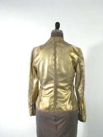 "65: Gold Leather Jacket  ""Italian Gimos"" - 2"