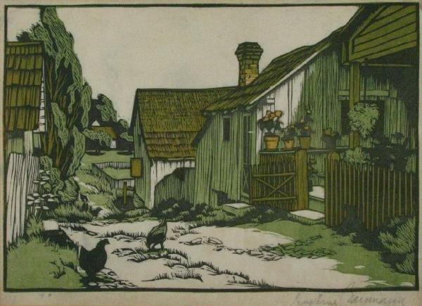 211: Gustave Baumann 9x13 Woodcut 'Mathis Alley'